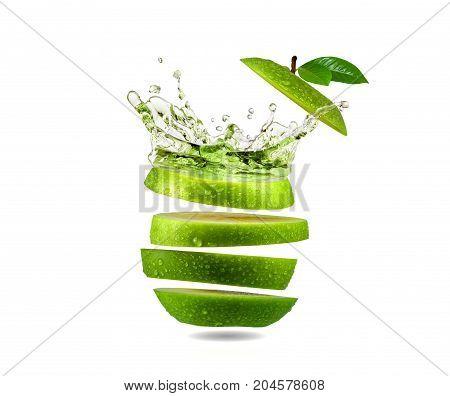 Slice green apple water splash, tropical fruit