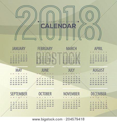 2018 Modern Abstract Green Printable Calendar Starts Sunday Vector Illustration. EPS 10