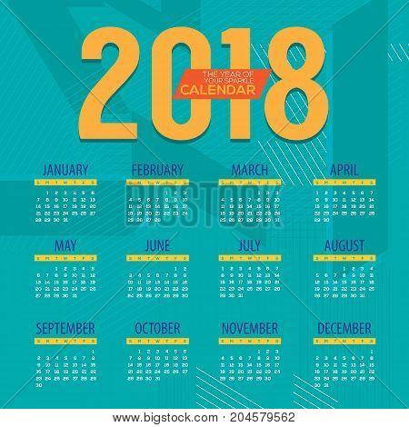 2018 Modern Colorful Graphic Printable Calendar Starts Sunday Vector Illustration. EPS 10
