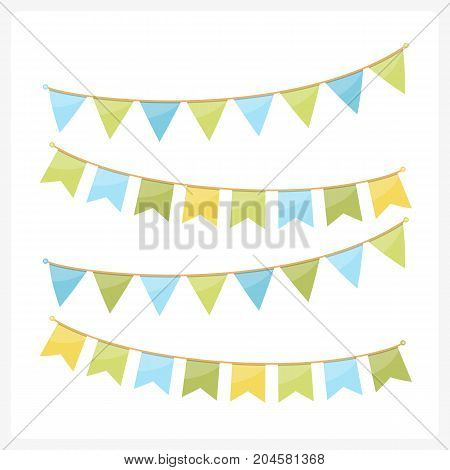 Colorful bunting for decoration of invitations greeting cards etc, bunting flags, summer colors, vector eps10 illustration