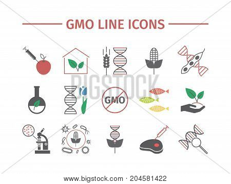 GMO. Genetically modified organism. Flat icons set. Vector signs for web graphics.