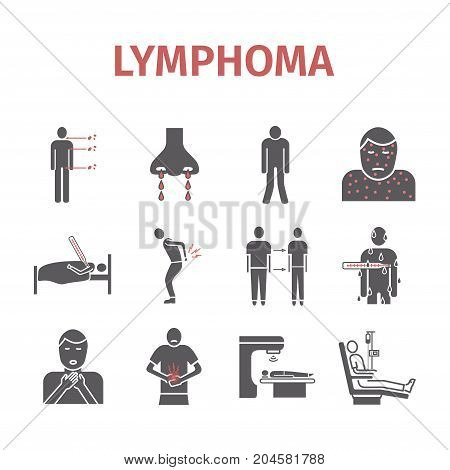 Lymphoma signs. Lymphatic Cancer Symptoms. Icons set. Vector signs for web graphics.