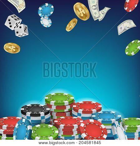Online Casino Poster Vector. Poker Gambling Casino Sign. Bright Chips, Flying Dollar Coins, Banknotes Explosion. Winner Concept. Jackpot Billboard