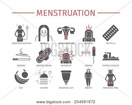 Menstruation. Icons set. Vector signs for web graphics