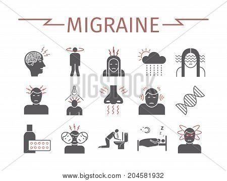 Migraines Infographics. Migraine symptoms. Headache icons Vector set