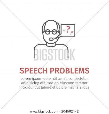 Speech problems. Vector icon for web graphic.