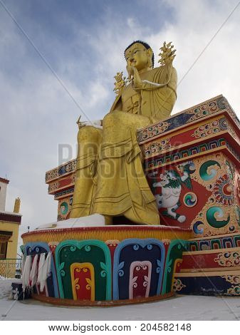 Golden Buddha Sculpture In Leh, Ladahk, India