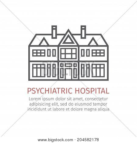 Psychiatric hospital. Vector icon for web graphic.