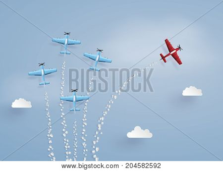 concept of success difference vision and target. red plane separated from the squadron illustrations made the same paper art and craft style.