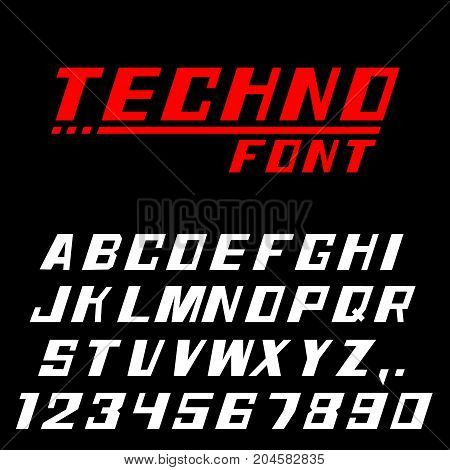 Techno font Letters and numbers. Vector illustration