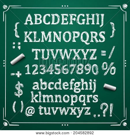 Sketch Cyrillic font, Board with a set of sketch symbols, Sketch font alphabet and numbers, Vector illustration