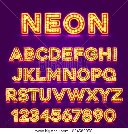 Red fluorescent neon font on dark background. Nightlight alphabet . Vector illustration.