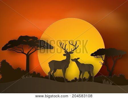 deer in forest with sunset . paper art and craft style.