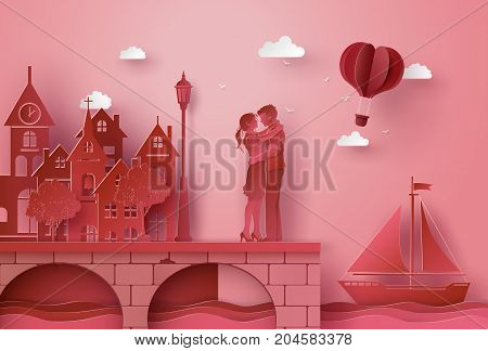 Illustration of love with couple hugging on the bridge seaside village . paper art and craft style.