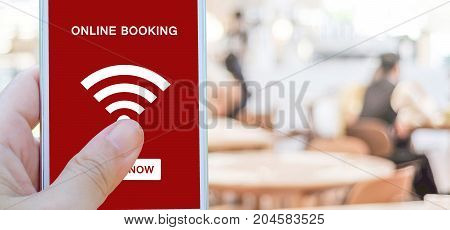 Online booking over blur restaurant background banner with copy space food and drink restauant reservation