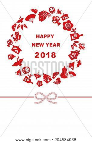 New Year card for year 2018 with Japanese new year good luck elements