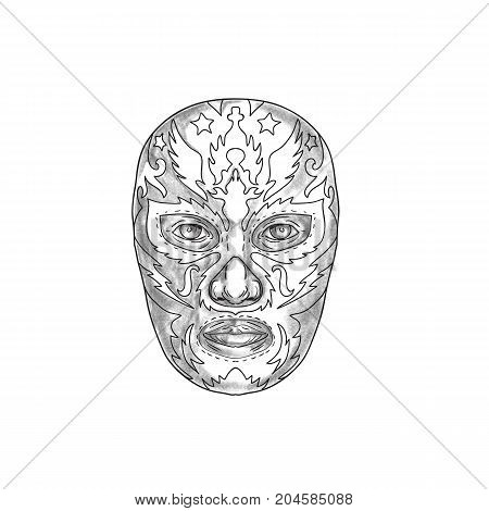 Tattoo style illustration of a Mexican wearing luchador Lucha libre mask viewed from front.