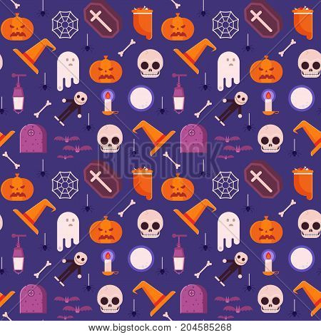 Halloween pattern with traditional scary symbols and elements. Mystic halloween seamless background with pumpkins, skull, ghost, lantern, candle, witch hat and other scary symbols.