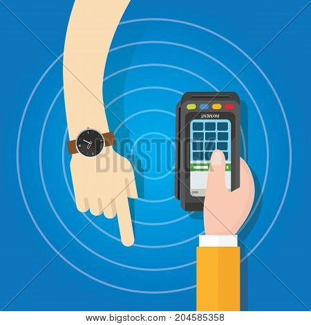 pay using smart watch payment method electronic transaction hand holding vector