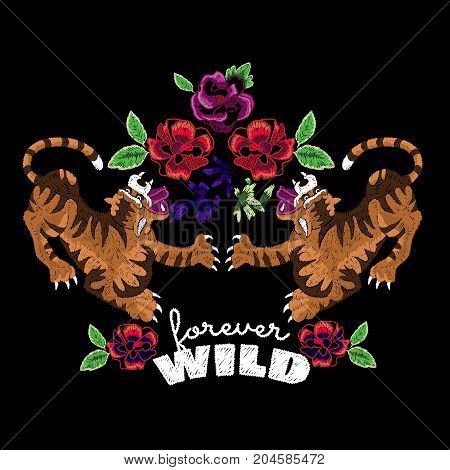 Embroidery oriental folk pattern with tigers and roses. Vector embroidered floral patch for t shirt and clothing design.