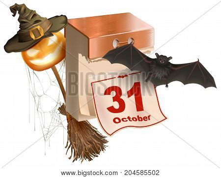 October 31 holiday of Halloween. Tear-off calendar. Halloween accessory pumpkin lantern, bat, broom, spider web, hat. Isolated on white vector cartoon illustration