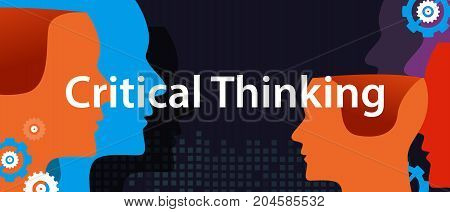 critical thinking concept of creative solution head brain storm problem solving vector