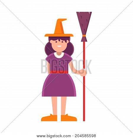 Smiling witch girl with broom stick cartoon illustration. Halloween child character in costume isolated on white background.
