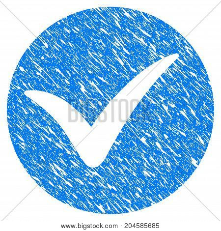 Grunge Apply icon with grunge design and scratched texture. Unclean vector blue apply pictogram for rubber seal stamp imitations and watermarks. Draft emblem symbol.