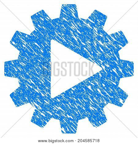 Grunge Automation Gear icon with grunge design and dust texture. Unclean vector blue automation gear pictogram for rubber seal stamp imitations and watermarks. Draft sticker symbol.