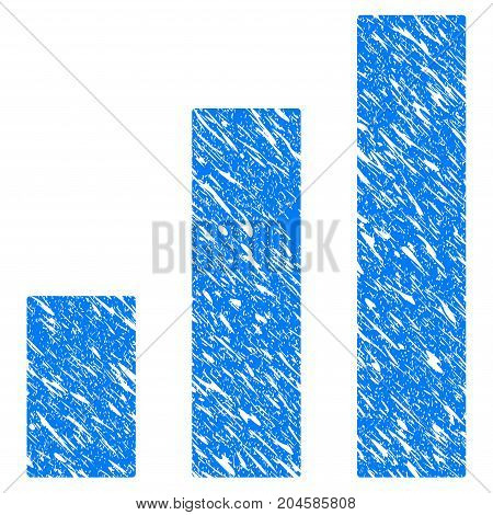 Grunge Bar Chart icon with grunge design and dirty texture. Unclean vector blue bar chart pictogram for rubber seal stamp imitations and watermarks. Draft emblem symbol.