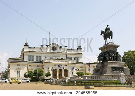 SOFIA, BULGARIA - AUGUST 09, 2017:The square of the National Assembly in Sofia. The building of parliament and a monument to the Tsar Liberator.
