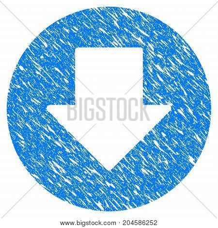 Grunge Down icon with grunge design and dirty texture. Unclean vector blue down pictogram for rubber seal stamp imitations and watermarks. Draft sticker symbol.