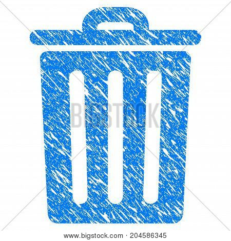 Grunge Dustbin icon with grunge design and dirty texture. Unclean vector blue dustbin pictogram for rubber seal stamp imitations and watermarks. Draft emblem symbol.