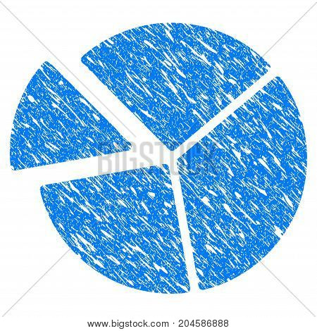 Grunge Pie Chart icon with grunge design and scratched texture. Unclean vector blue pie chart pictogram for rubber seal stamp imitations and watermarks. Draft sign symbol.