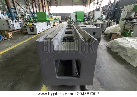Machine tool base. Assembly shop of a modern factory.