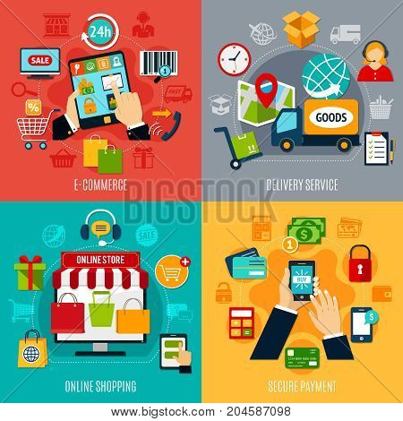 E-commerce flat design concept with delivery service, online shopping, secure payment, electronic technologies isolated vector illustration