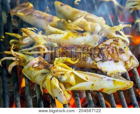 Squid Seafood In Bbq Flames
