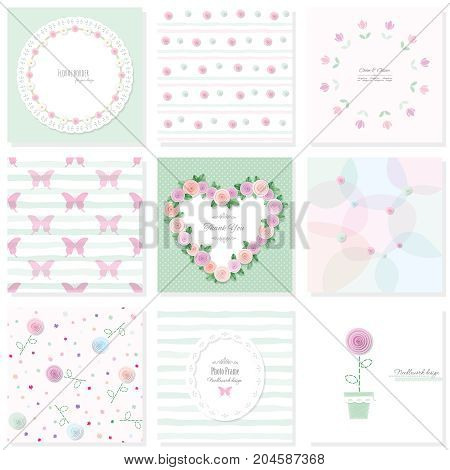 Romantic design elements set. Included seamless patterns, frames, doilies, greeting cards templates. For wedding, birthday, valentines, baby shower clothes notebook cover Vector