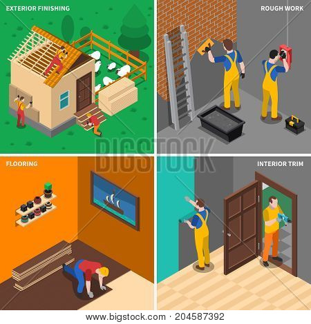 Four home repair worker people icon set with exterior finishing rough work flooring interior trim description vector illustration