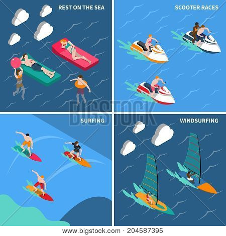 Four squares water sports isometric people icon set with rest on the sea scooter races surfing and windsurfing descriptions vector illustration
