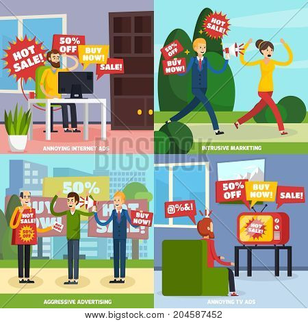 Four square annoying intrusive advertisement icon set with internet ads intrusive marketing aggressive advertise and annoying tv ads descriptions vector illustration