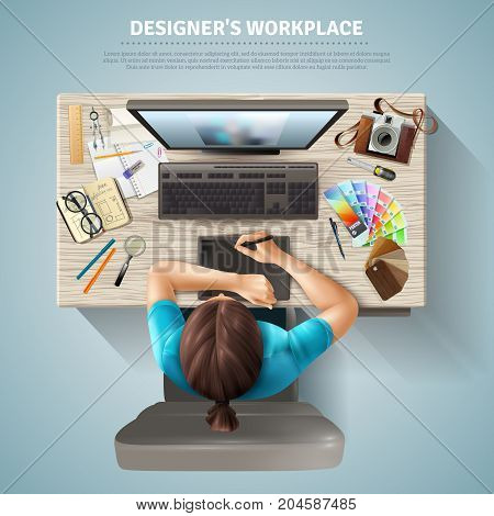 Workplace table of female designer with computer camera and stationery top view realistic vector illustration