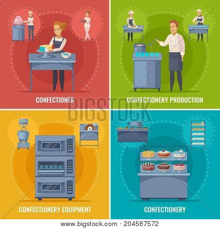 Confectionery production cartoon concept with cakes and sweets in showcase, professional equipment, pastry cook isolated vector illustration