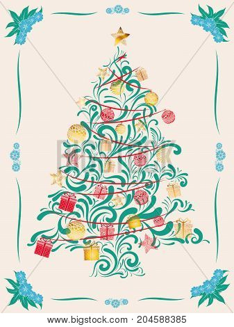 merry christmas tree and happy new year card
