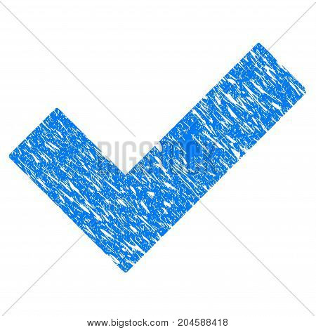 Grunge Yes Tick icon with grunge design and unclean texture. Unclean vector blue yes tick pictogram for rubber seal stamp imitations and watermarks. Draft sign symbol.
