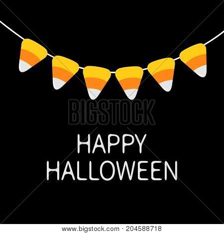 Happy Halloween card. Candy corn bunting flags pack. Party decoration element. Flag garland. Hanging on rope thread. Orange white triangle set. Flat design. Black background. Vector illustration