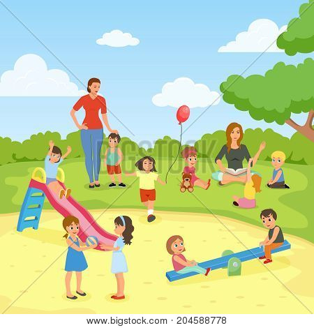 Babysitters with kids flat composition including lesson of reading at nature, games on playground, vector illustration