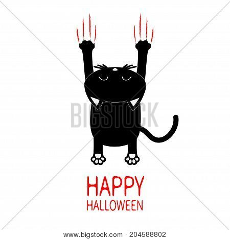 Happy Halloween Greeting card. Cartoon black cat. Back view with head. Red bloody claws animal scratch scrape track. Cute funny character. White background. Isolated. Flat design. Vector illustration