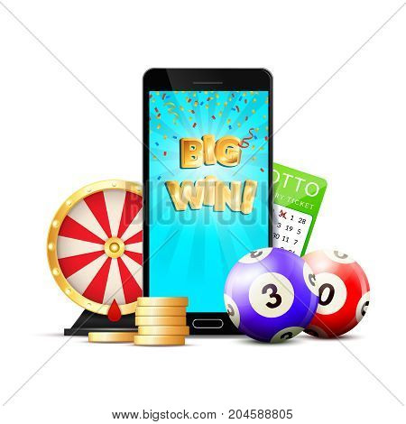 Online casino colorful composition advertisement with mobile big win screen chips roulette lottery card realistic vector illustration