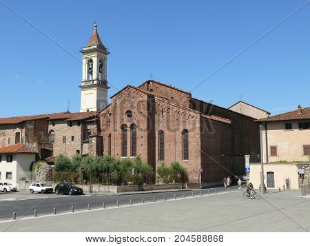 Prato Italy august 2 2015: San Francesco church and Santa Maria delle Carceri square in Prato